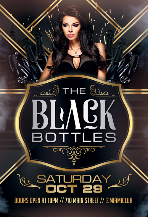 Black Bottles Party Flyer Template For Photoshop  AwesomeflyerCom