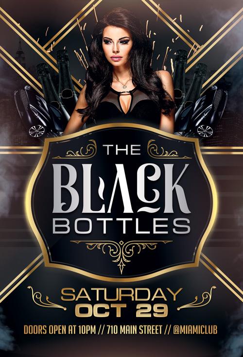 Black Bottles Party Flyer Template for Photoshop – Black Flyer Template