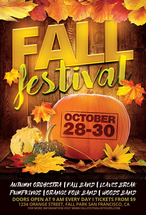 fall festival flyer template for photoshop
