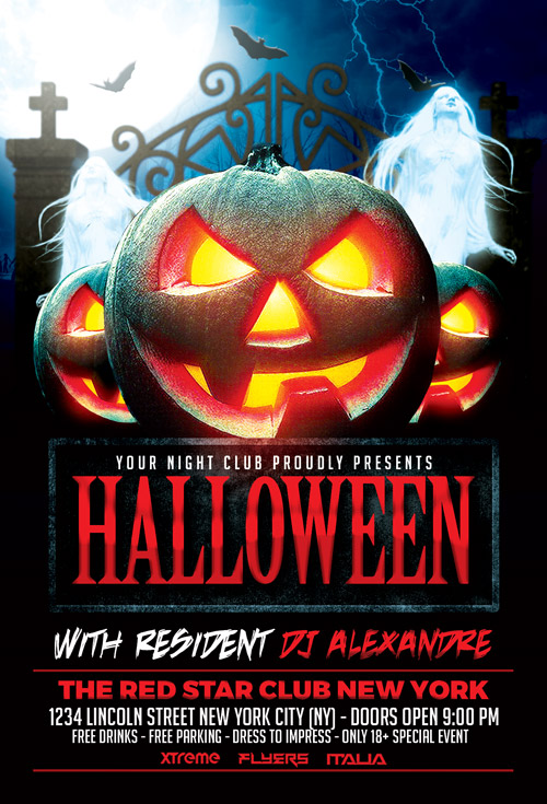 Halloween Nightclub Party Flyer Template Photoshop  AwesomeflyerCom