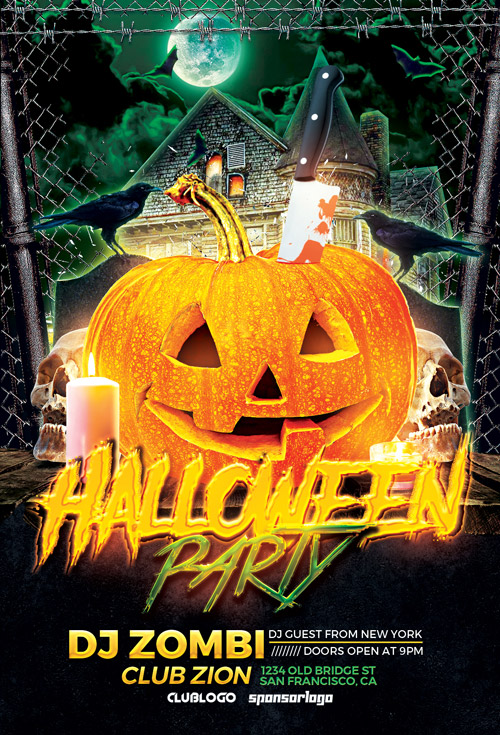 Halloween Party Flyer Template Photoshop | Awesomeflyer.Com