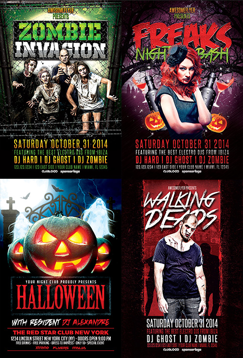 Halloween Flyer Template Bundle For Photoshop  AwesomeflyerCom