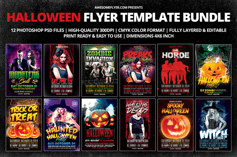 halloween flyer template bundle for photoshop. Black Bedroom Furniture Sets. Home Design Ideas