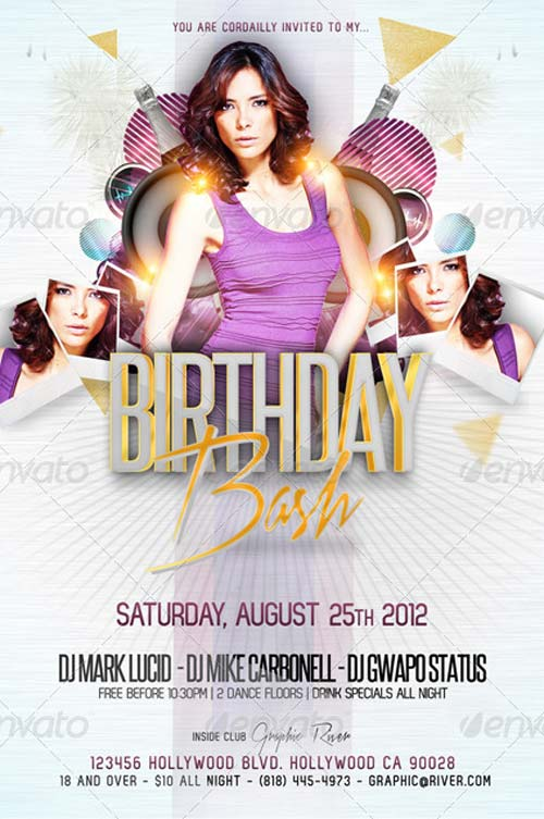 B-Day Bash Party Flyer Template