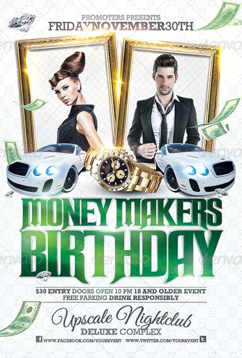 Club Sessions Money Makers Birthday Party Flyer