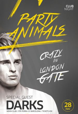 Party Animals Club Flyer and Poster Template