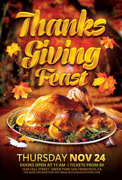 Thanksgiving Feast Flyer Template For Photoshop Awesomeflyer