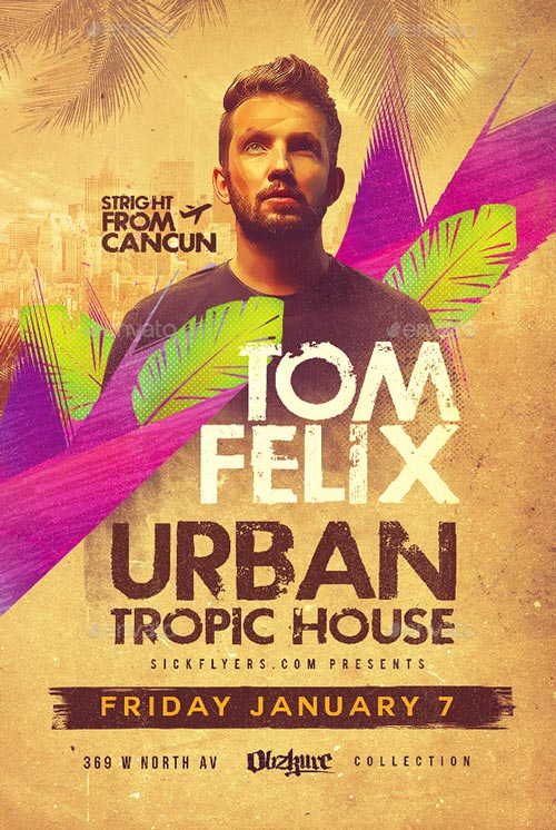 Tropical House Flyer PSD