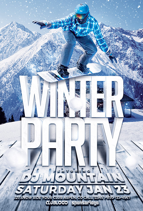 Download Winter Party Flyer Template For Photoshop  AwesomeflyerCom