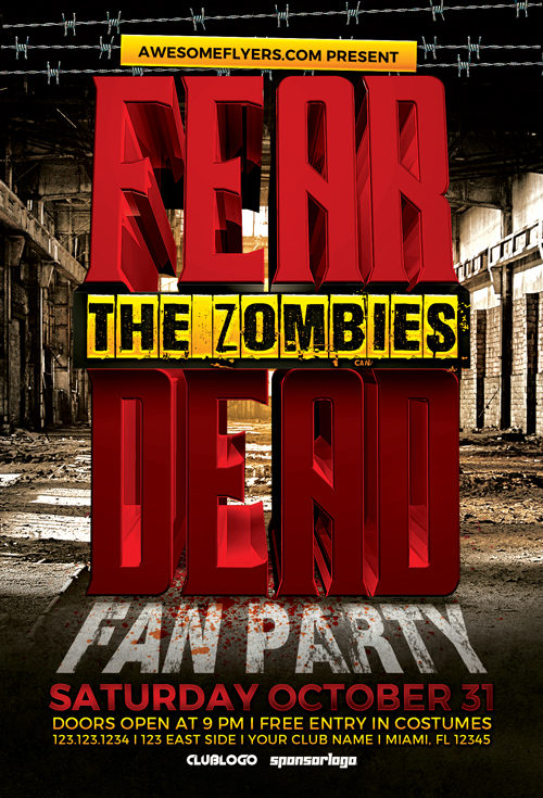 Free Zombie Horror Party Flyer Template  AwesomeflyerCom