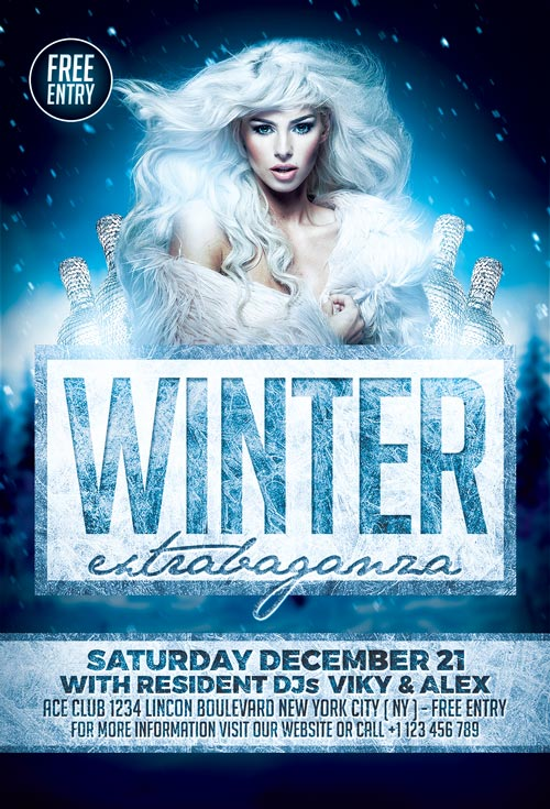 Elegant Winter Party Flyer Template For Photoshop  AwesomeflyerCom