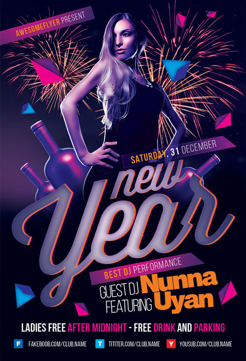 New Year Party Event Flyer Template For Photoshop | Awesomeflyer.Com
