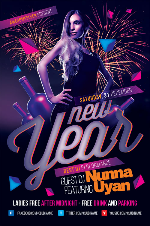New Year Party Event Flyer Template For Photoshop  AwesomeflyerCom
