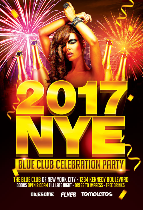 New Years Eve Party Celebration Flyer Template ...
