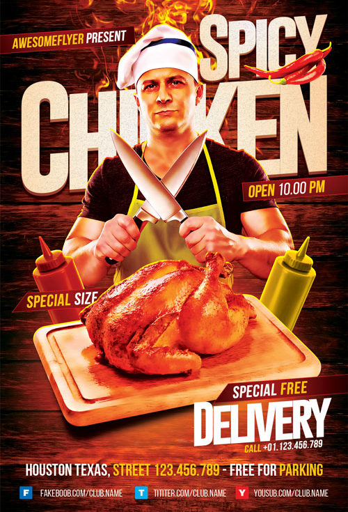 Spicy-Chicken-Flyer-Template-Awesomeflyer-com