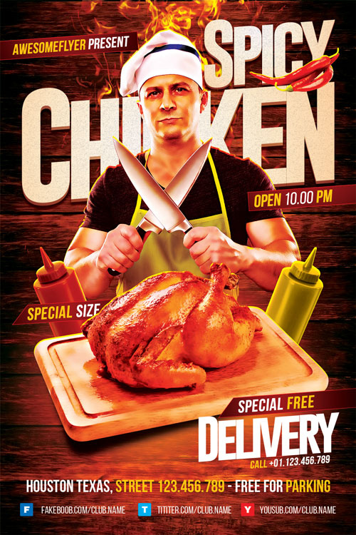 Spicy Chicken Restaurant Flyer Template  Download Flyer For Photoshop