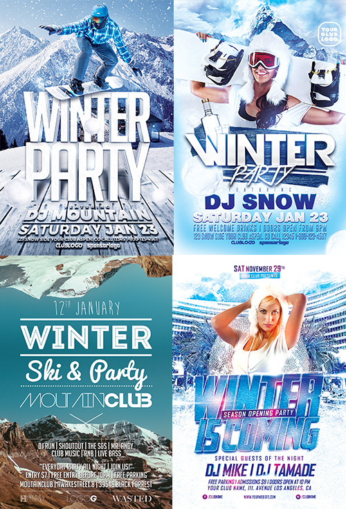 Winter Flyer Template Bundle For Photoshop  AwesomeflyerCom