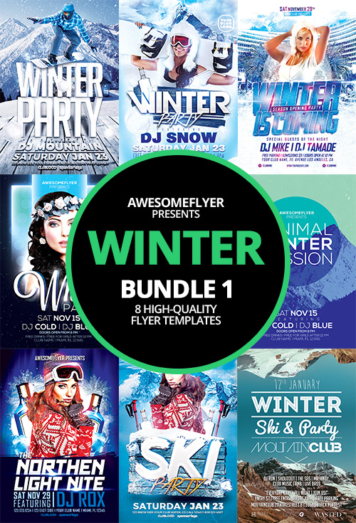 Winter Flyer Template Bundle for Photoshop – Winter Flyer Template
