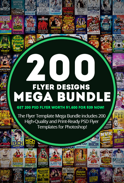 download the 200 flyer templates mega bundle for photoshop on