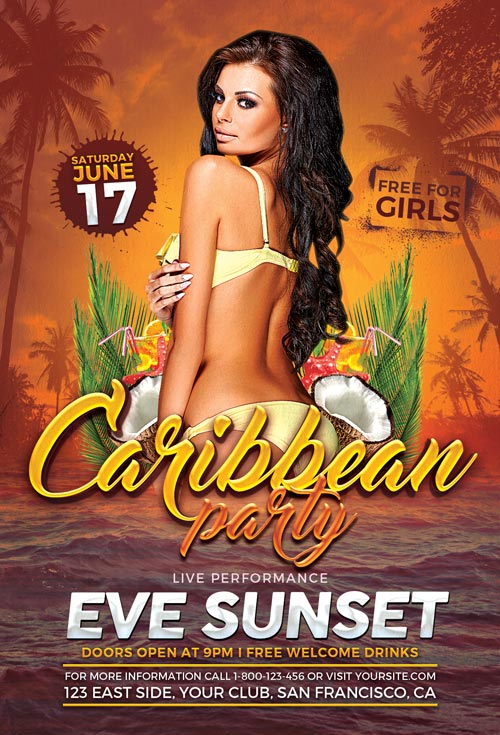 Carribean Party Flyer Template 500 Awesomeflyer Com