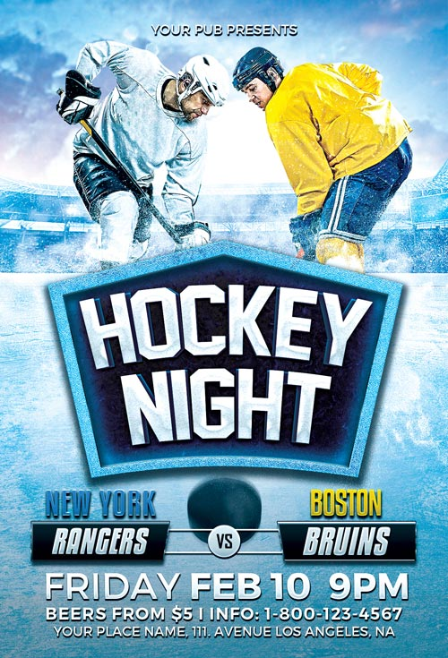 Hockey Night Flyer Template - Download Ice Hockey Flyer for Photoshop