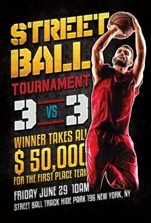 Street Ball Basketball Flyer Template