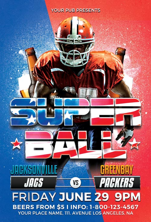 Super Ball Football Sport Flyer Template