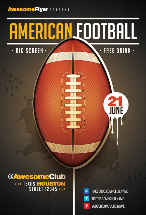 American Football Flyer Template - Download The Best Sport Event