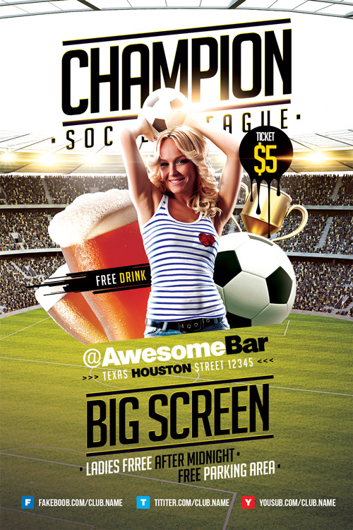 Champion League Soccer Flyer Template  Download Soccer Sport Flyers