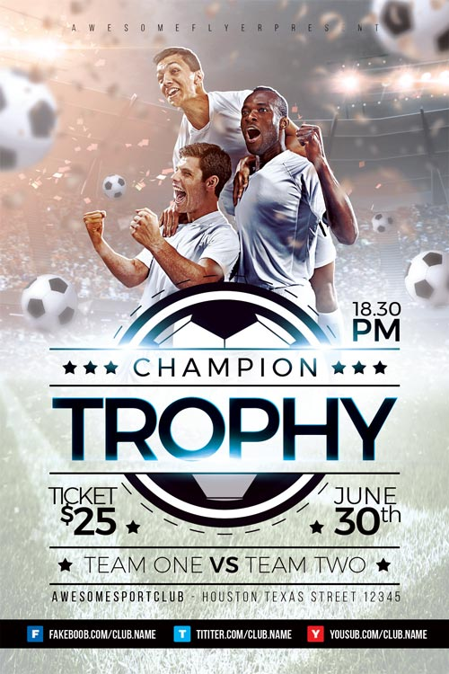 Champion Trophy Soccer Flyer Template  Download Soccer Sport Flyers