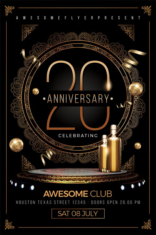 Superior Elegant Anniversary Flyer Template Awesomeflyer Com