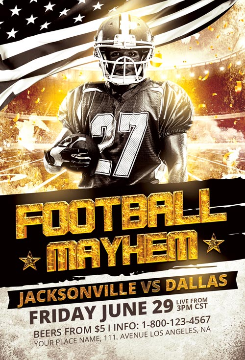 football mayhem flyer template download the best sport event flyers. Black Bedroom Furniture Sets. Home Design Ideas