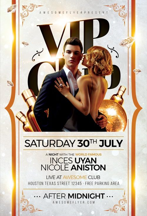 Vip Club Flyer Template - Download Flyer For Elegant Classy Club