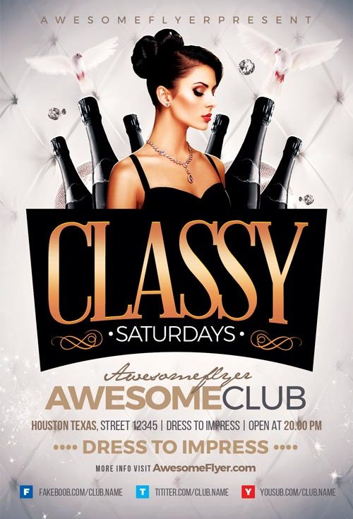 Classy Saturdays Flyer Template - Flyer for elegant Club and Party ...