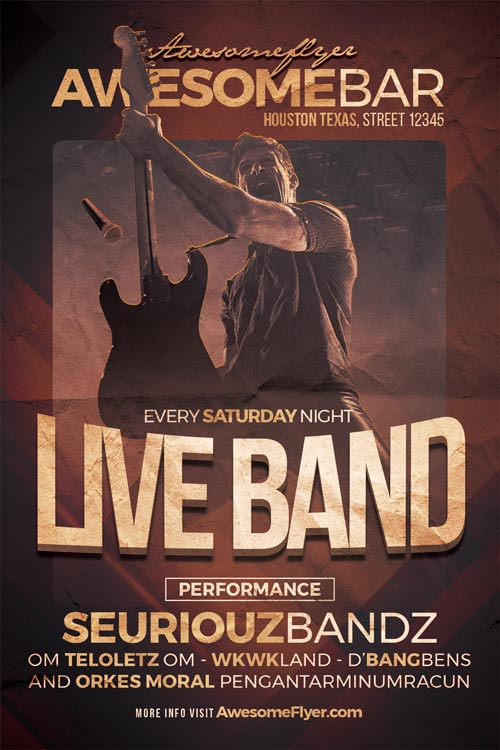 Live Band Flyer Template For Live Music, Indie Alternative Concerts