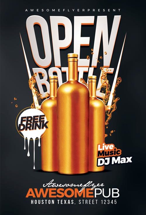 Open Bottle Flyer Template For Bar Pub And Club Events  Special