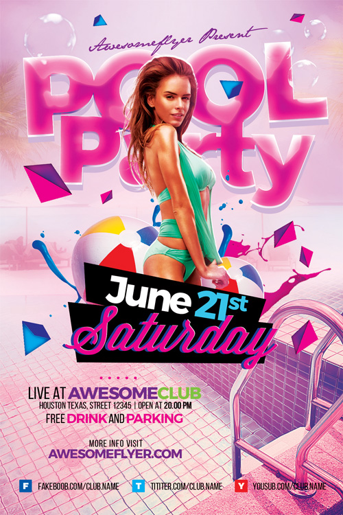 Summer Pool Party Flyer Template - Flyer for Summer and Beach Parties