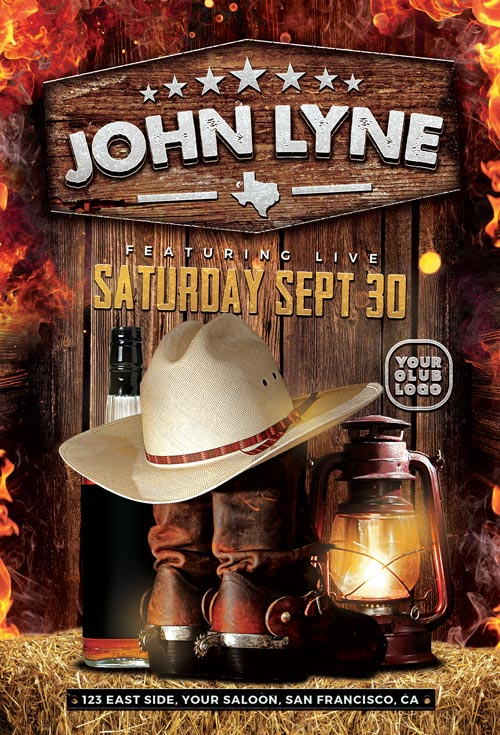 Country-Artist-Event-Flyer-Template-Awesomeflyer-com