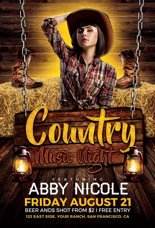 Country-Music-Night-Flyer-Template-Awesomeflyer-com