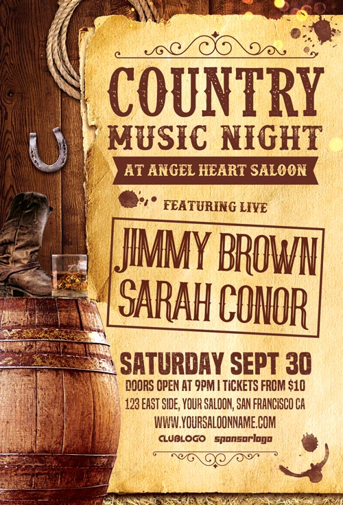 Country Music Night Vol 2 Flyer Template Awesomeflyer