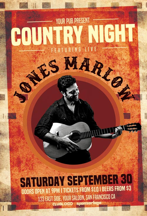 Country-Night-Flyer-Template-Awesomeflyer-com
