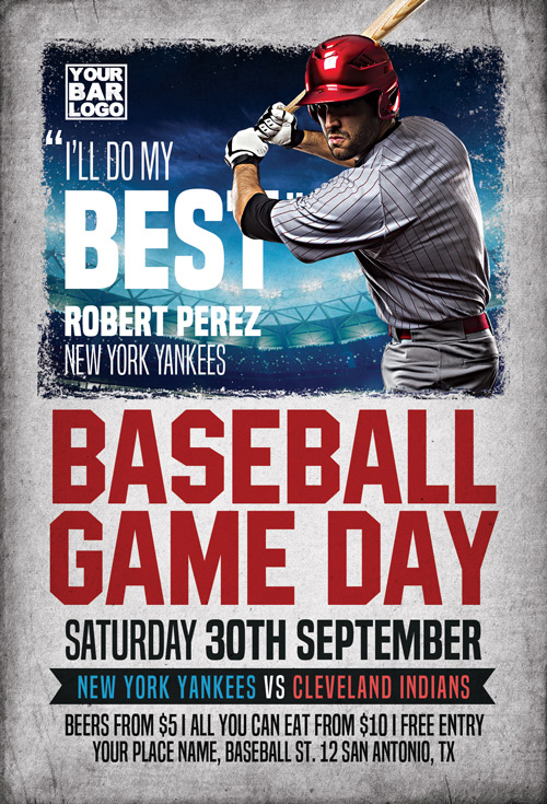 Baseball Game Day Flyer Template  Flyer For Sport Events