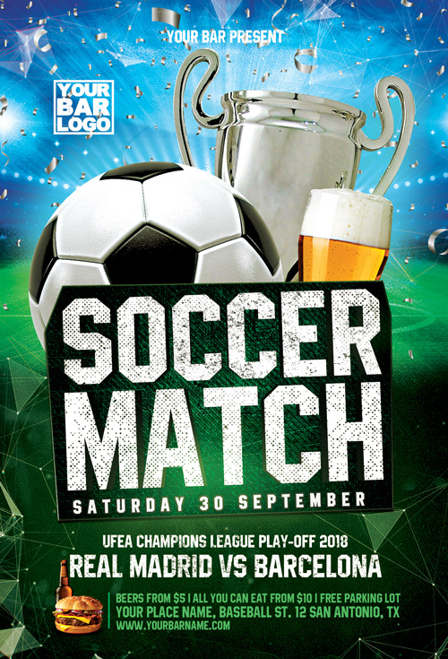 Euro Soccer Match Flyer Template Flyer For Sport Events