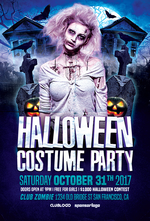 Halloween Costume Party Flyer Template  Flyer For Halloween Parties