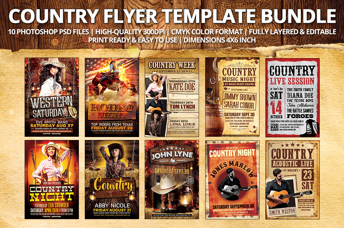 Western Country Flyer Template Bundle - 10 Country Flyer PSD Templates