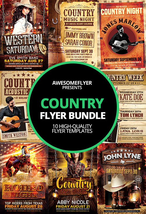 9e43d8832d589 Western Country Flyer Template Bundle 10 Flyer for Country Music Events