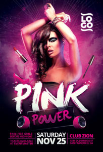 Pink-Power-Party-Flyer-Template-Awesomeflyer-com