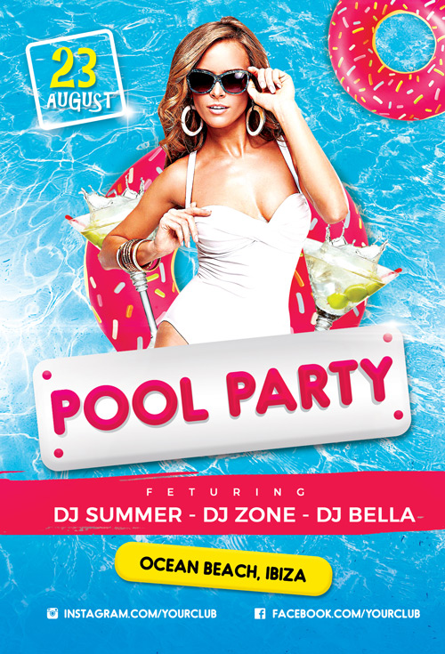 Pool Party Vol 2 Flyer Template - Flyer for Summer and Beach Parties