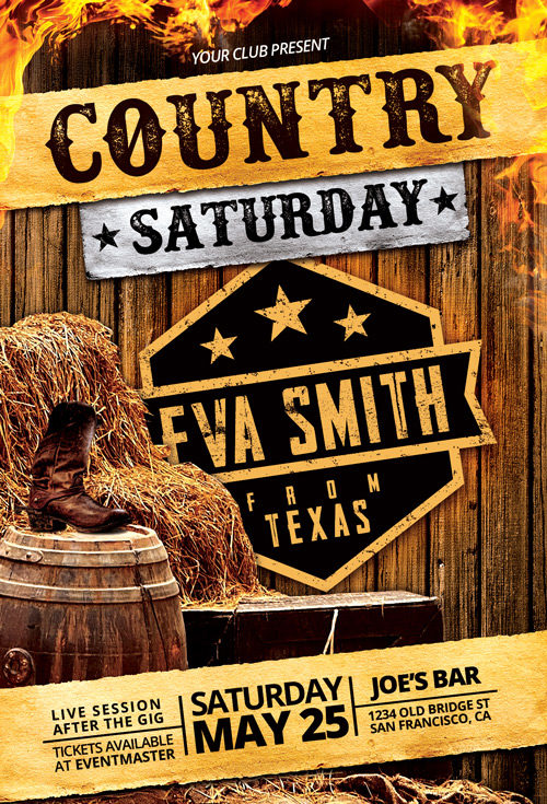 Country-Saturday-Flyer-Template-500-Awesomeflyer-com