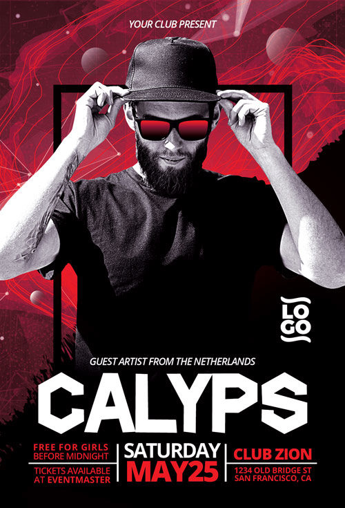 DJ Calyps Music Party Flyer Template
